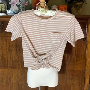 Tan and White twisted crop shirt